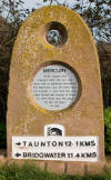 Mercury marker on the Bridgwater and Taunton Canal