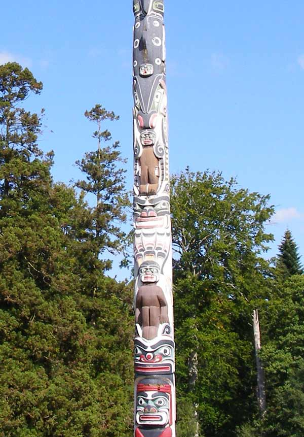 Carving detail of the totem pole