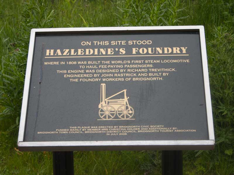 Plaque re Hazeldine's Foundry buiding Trevithick's steam engine
