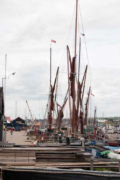 Masts of Thames sailing barges.