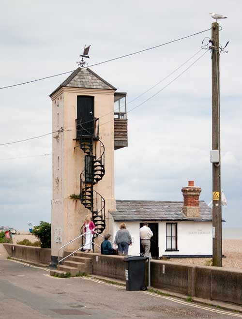 Lookout tower at Aldeburgh beach.
